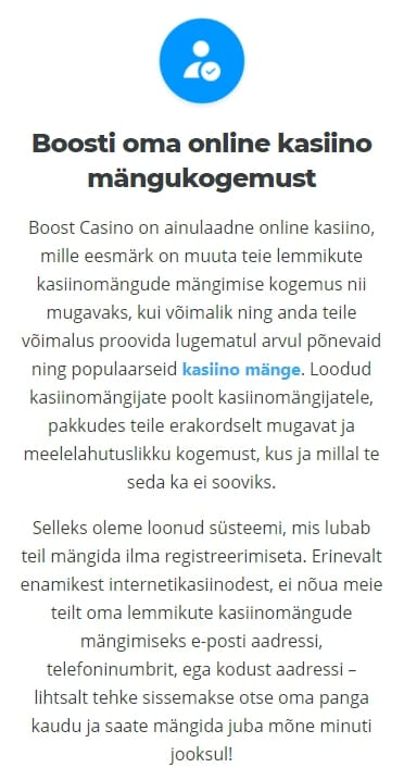 Kuidas Boost Casinos registreeruda