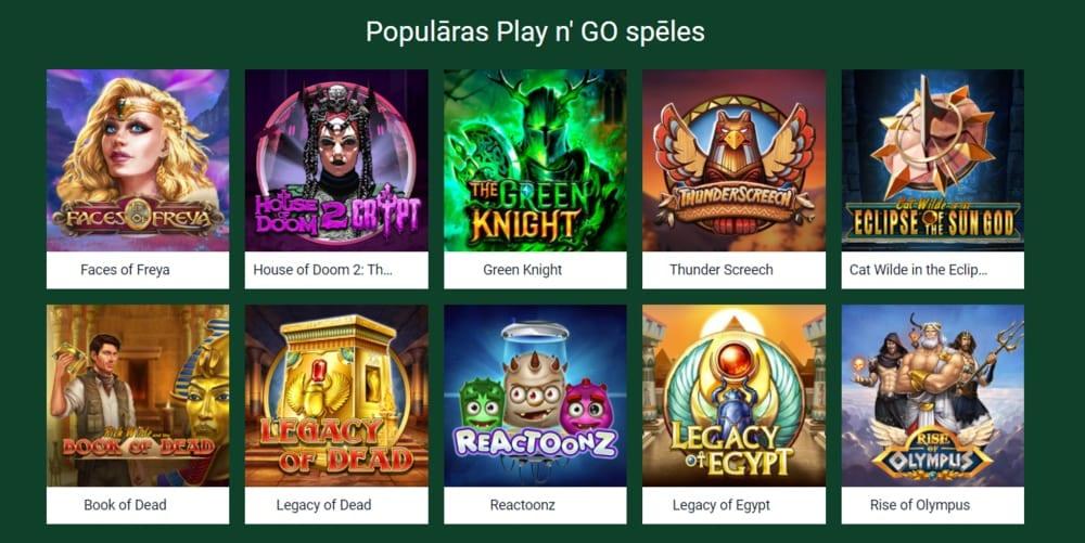 Populārākās Play'n'Go spēles